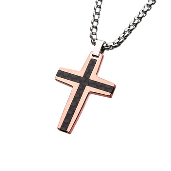 AURIC CROSS Rose Gold Steel Mens Pendant Chain with Carbon Fiber Inlay