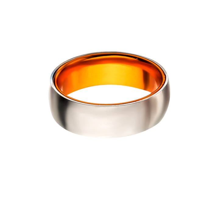 AGENT ORANGE Steel and Aluminum Mens Ring with Secret Orange Interior