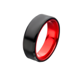 AGENT RED Steel and Aluminum Mens Ring with Secret Red Interior