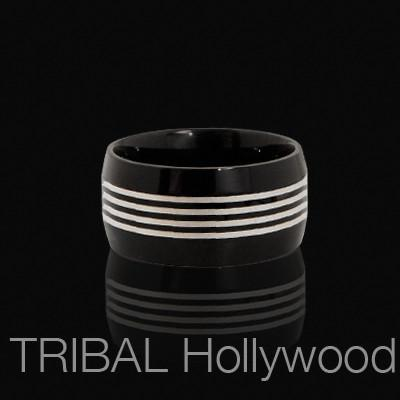 THE GIG Pinstriped Mens Ring in Black Stainless Steel