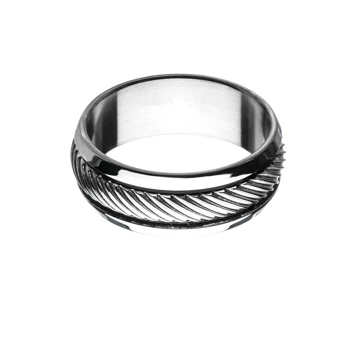 CASTED STEEL BAND Ring for Men with Striped Design Inlay