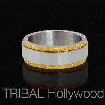 Textured Gold Steel PRINCE Mens Spinner Ring