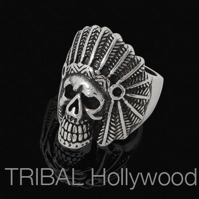 INDIAN CHIEF Skull Ring Mens Stainless Steel