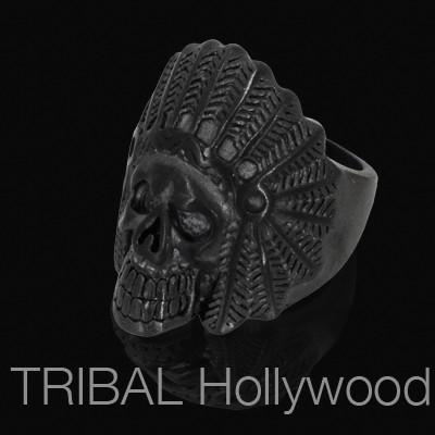INDIAN CHIEF BLACK Skull Ring Mens Stainless Steel