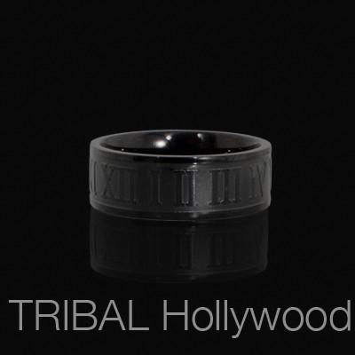 CRUCIBLE BLACK Roman Numeral Ring For Men in Black Stainless Steel
