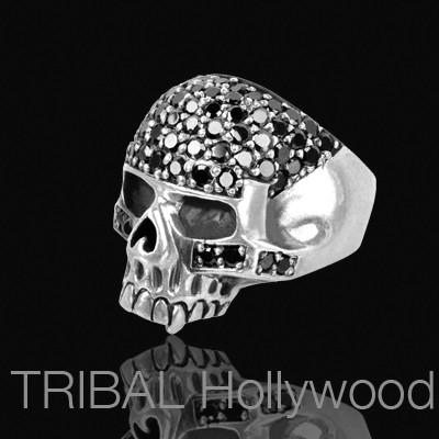 CRYSTAL CRANIUM Skull Ring in Stainless Steel with Black CZ stones