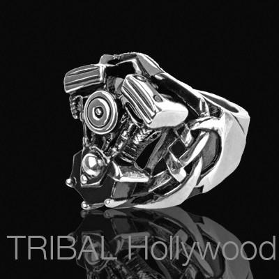REVVER Engine Block Ring for Men in Stainless Steel