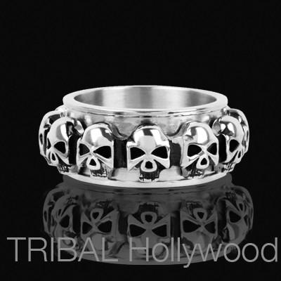 DEATH CYCLE Multi Skull Spinner Ring for Men in Steel
