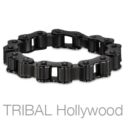 SIDECAR BLACK Mens Motorcycle Chain Bracelet in Stainless Steel