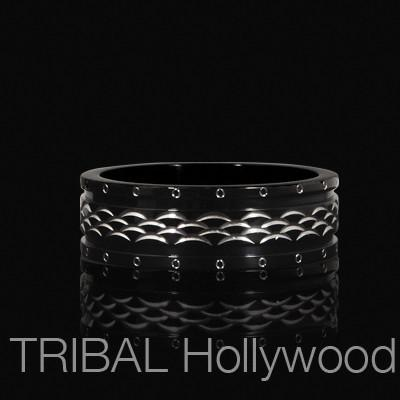 MOON CREST Black Metal Ring For Men in Stainless Steel