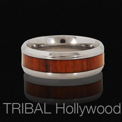 DEBONAIR Mens Titanium Ring with Sono Wood Inlay