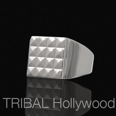 LUXOR Pyramid Studded Square Ring For Men in Stainless Steel