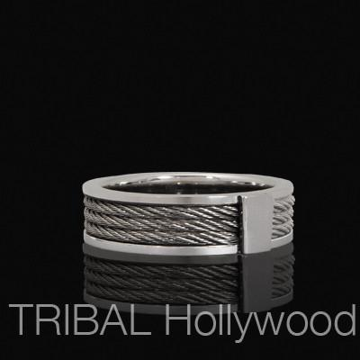 STEEL ROPE Twisted Cable Ring For Men