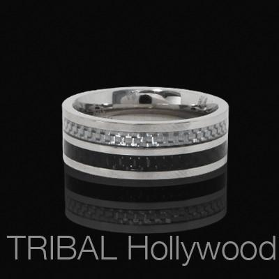 Ring for Men CYBORG RING with Black and Silver Carbon Fiber | Tribal Hollywood
