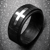 PREACHER Black Carbon Graphite Mens Ring with Shining Steel Cross