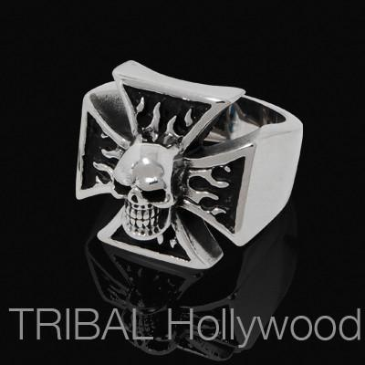 HELL RIDER Iron Cross Ring Mens With Biker Skull In Steel