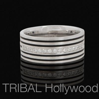PINSTRIPE Mens Cubic Zirconia Studded Ring in Striped Stainless Steel