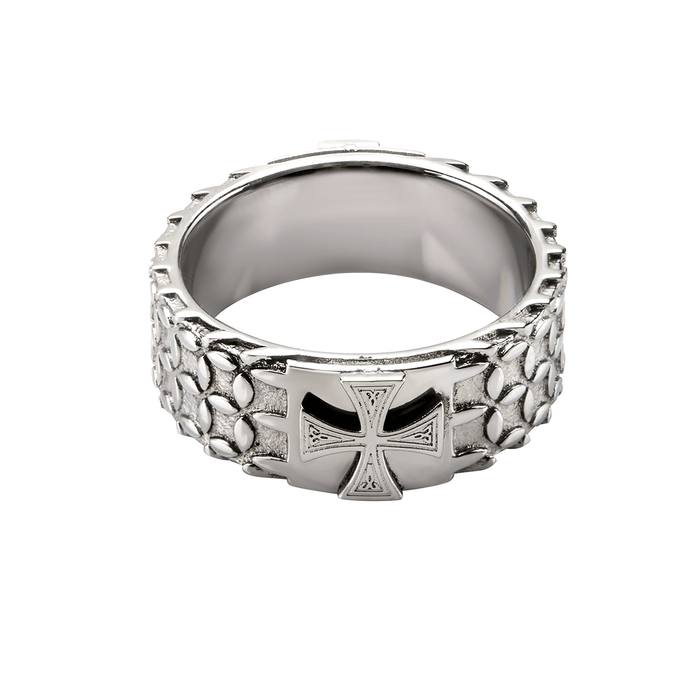 SCALE ARMOR CROSS RING for Men Etched in Stainless Steel