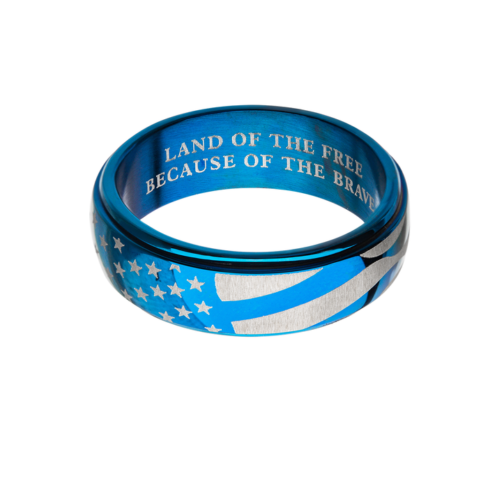 BLUE FLAG RING Steel American Flag Design Mens Spinner Ring Band