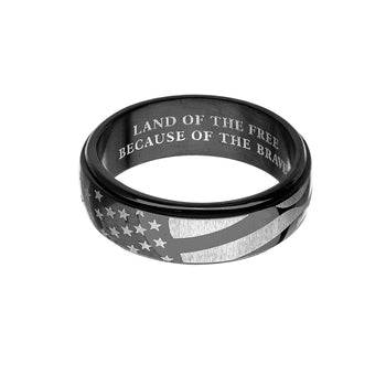 BLACK FLAG RING American Flag Design Mens Steel Spinner Ring Band