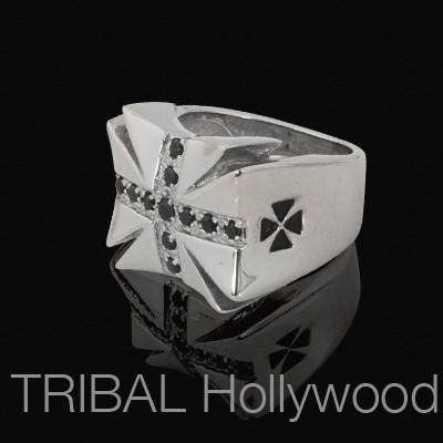 Mens SEMPER FI CROSS Ring with Black CZ Stones in Stainless Steel