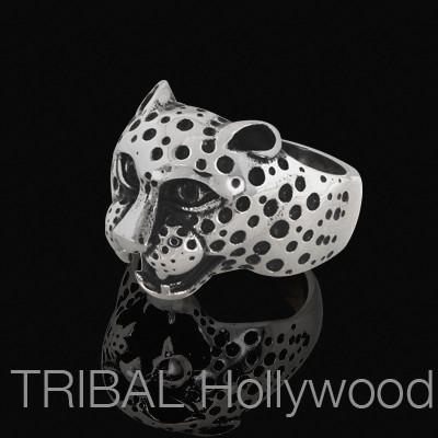 Ring for Men CHEETAH Stainless Steel Cheetah Head | Tribal Hollywood