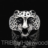 Ring for Men CHEETAH Stainless Steel Cheetah Head | Tribal Hollywood Front View