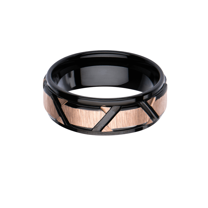 CRITERION RING Modern Black and Rose Gold Steel Mens Band Ring