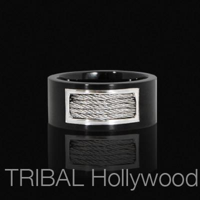 NETWORK Black Metal Ring for Men with Stainless Steel Braided Cable
