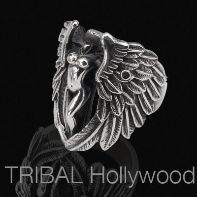 Ring for Men SERAPH Winged Angel in Stainless Steel | Tribal Hollywood