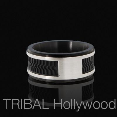 NEW WAVE Mens Ring with Steel and Rubber