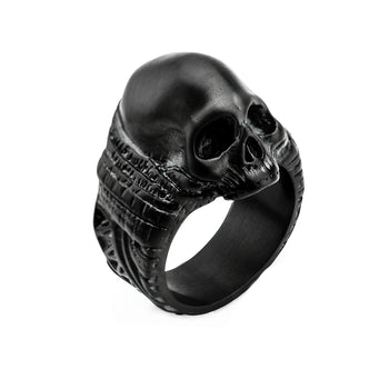 ANCIENT SKULL BLACK Steel Mens Ring with Rugged Skull Design