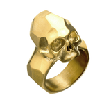 ANCIENT SKULL GOLD Steel Mens Ring with Rugged Skull Design