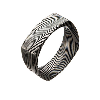 BLADESMITH Damascus Steel Modern Band Ring for Men