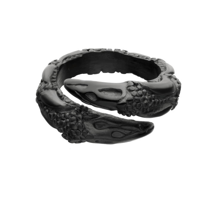 DRAGON TALON RING for Men with Claw Design Etched in Black Steel