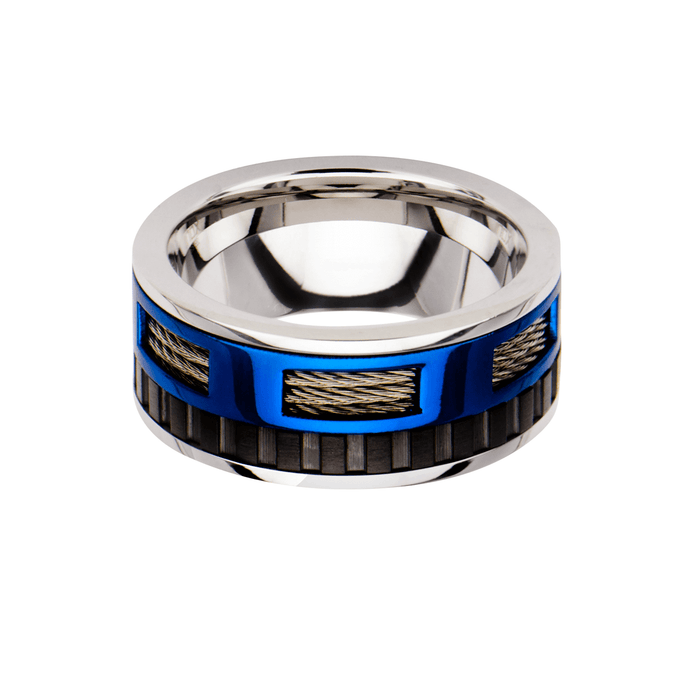 SNOWMOBILE RING Blue and Black Steel Mens Ring Band with Cable Inlays