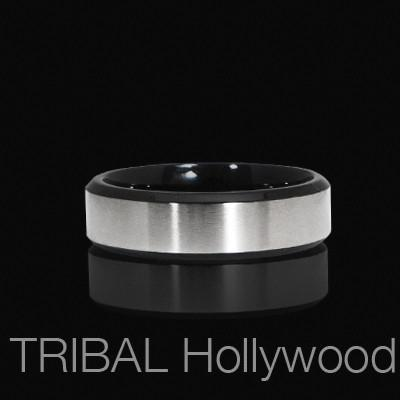 BANDED Black Metal Ring for Men with Stainless Steel Band