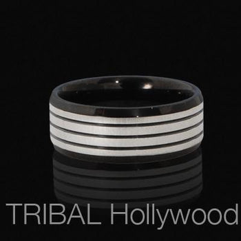 LUXURY Black Stainless Mens Ring with Classic Stripes