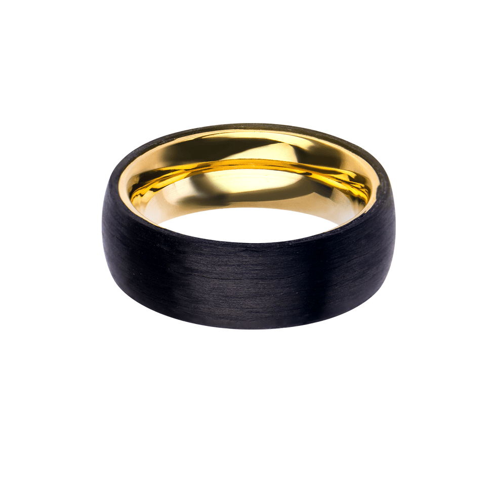 GRAPHITE GOLD RING for Men with Gold Steel and Carbon Graphite