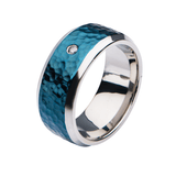 POLAR RING Hammered Blue Steel Mens Ring Band with CZ Stone