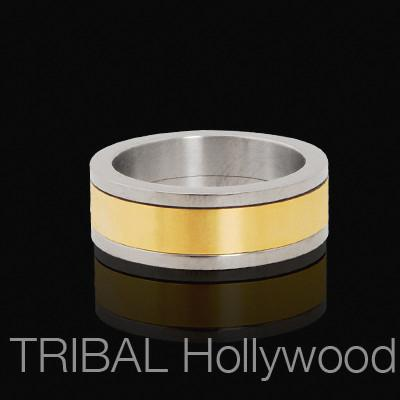 Mens Spinner GOLDEN BAND Titanium Ring