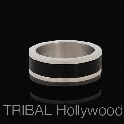 Titanium Spinner Ring for Men INVERSE BAND with Black Metal