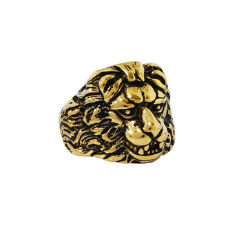 GOLDEN LION RING for Men with Lion Head Etched in Gold Steel