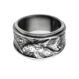 BLACK FALCON RING Antique Black Steel Mens Ring Band