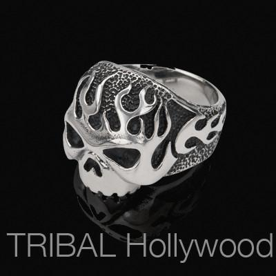 HADES SKULL Ring Flaming Fire Skull Steel Mens Ring