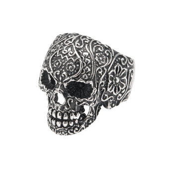 SUGAR SKULL Ring For Men Stainless Steel Day of the Dead Skull Ring