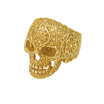 GOLD SUGAR SKULL Ring For Men Gold Steel Day of the Dead Skull Ring