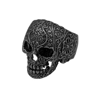 BLACK SUGAR SKULL Ring For Men Black Steel Day of the Dead Skull Ring