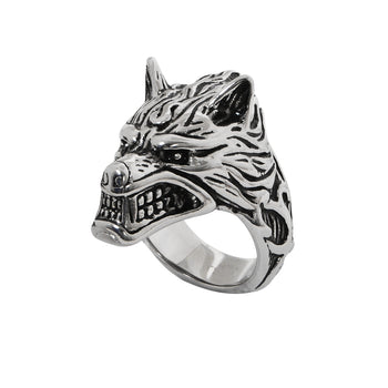 THE WOLF Ring Stainless Steel Wolf's Head Ring for Men