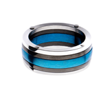 SNOWDRIFT RING Blue and Black Steel Stripe Mens Ring Band